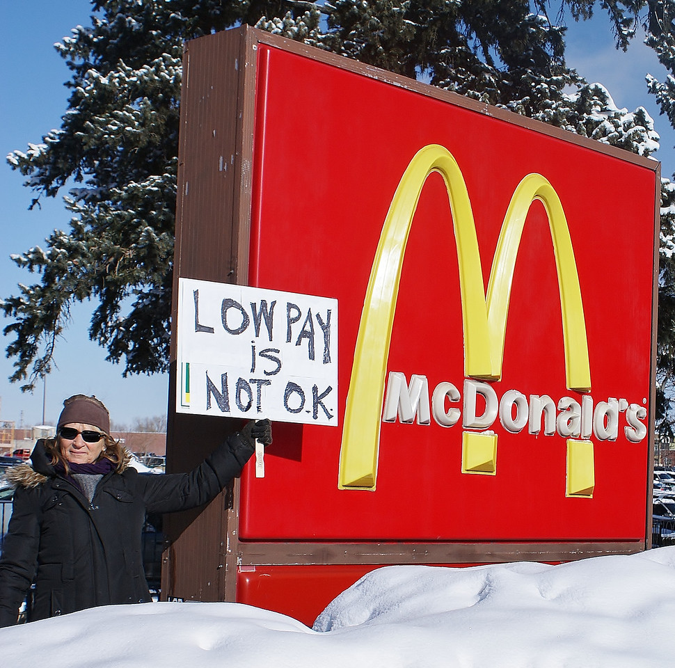 McDonalds was the target for protesters like this woman in Boulder, Colorado, on a day of demonstrations nationwide for better wages for fast food workers.