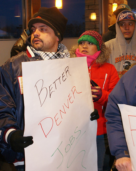 Fast food workers and supporters demonstrated for better wages inside a Denver area McDonalds.