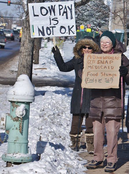 Demonstrators in Boulder Colorado braved temperatures in the single digits, to protest the low wages of fast food workers. The protest was part of a national day of protests and strikes by fast food workers.