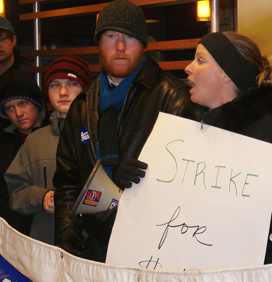 This McDonalds worker spoke out for better wages, at a demonstration inside a Denver area McDonalds.