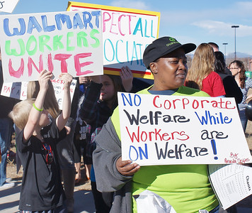 The low wages paid to workers, were an issue for many people at a Black Friday protest in front of a Walmart near Denver, Co.