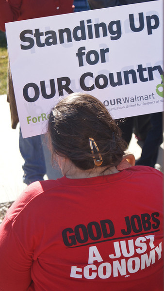 The effect of low wage jobs on the US economy was an issue for many people at a Black Friday protest in front of a Walmart in suburban Denver, Co.