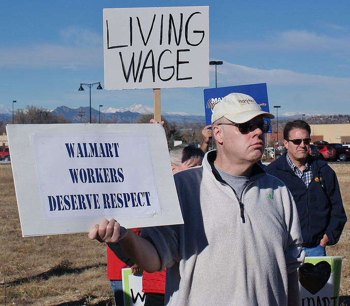 Black Friday protesters outside a Walmart store object to the companies low wages.