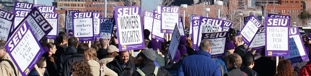 "SEIU members and staff march for ""workers rights"" and ""health care for all"" in Denver. (12/11/08)"