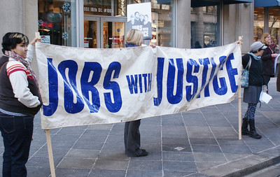Jobs With Justice demonstration outside Verizon store in Denver. (12/10/11)