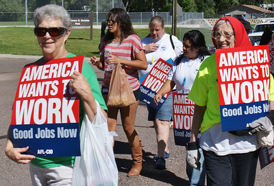Union members march in Labor Day parade in Louisville, Colorado. (9/3/12)