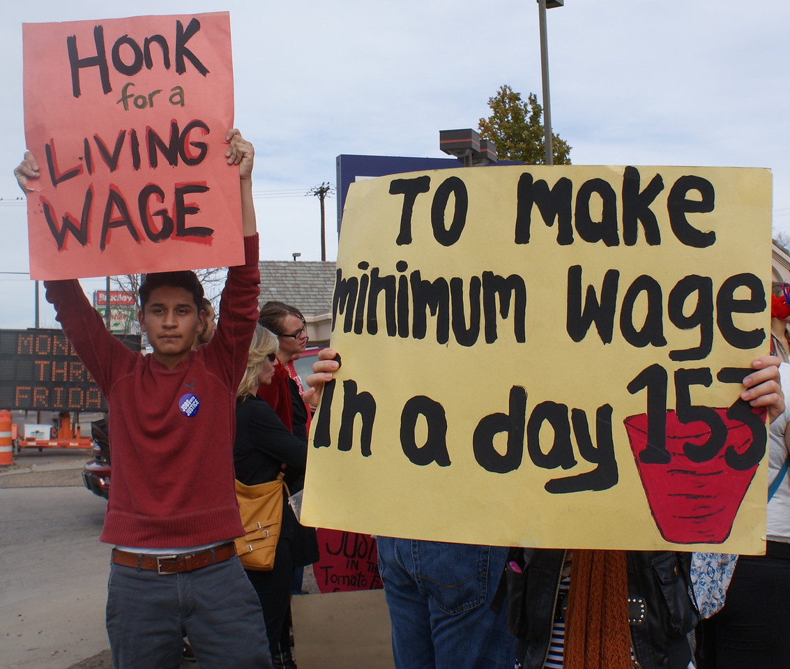 Fair Food Program supporters demonstrate for a living wage for farmworkers, outside a Denver Wendy's restaurant.