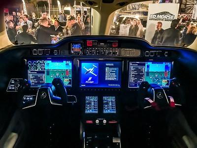Cockpit of New HONDA's $5.6 Million 4 passenger Jet on display at Concours d'Elegance's Hangar Party at Boca Aviation