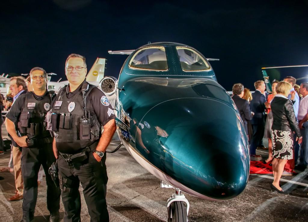 Concours d'Elegance's Hangar Party at Boca Aviation - On display HONDA's new 4 passenger Jet, a $5.6 Million beauty.