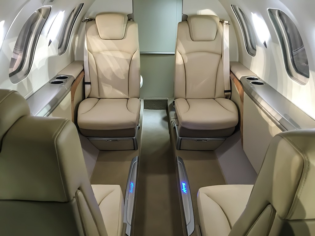 Luxury Cabin of New HONDA 4 passenger Jet on display at Concours d'Elegance's Hangar Party at Boca Aviation