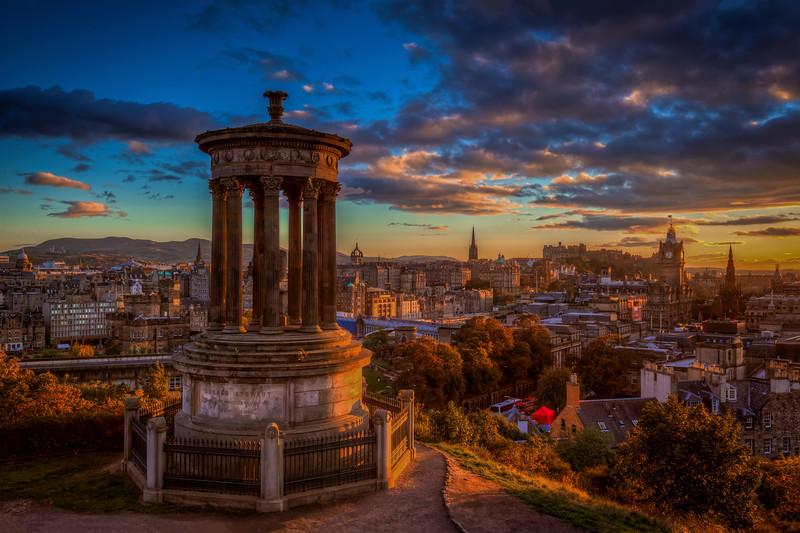 Sunset, Stewart Monument, Edinburgh Scotland