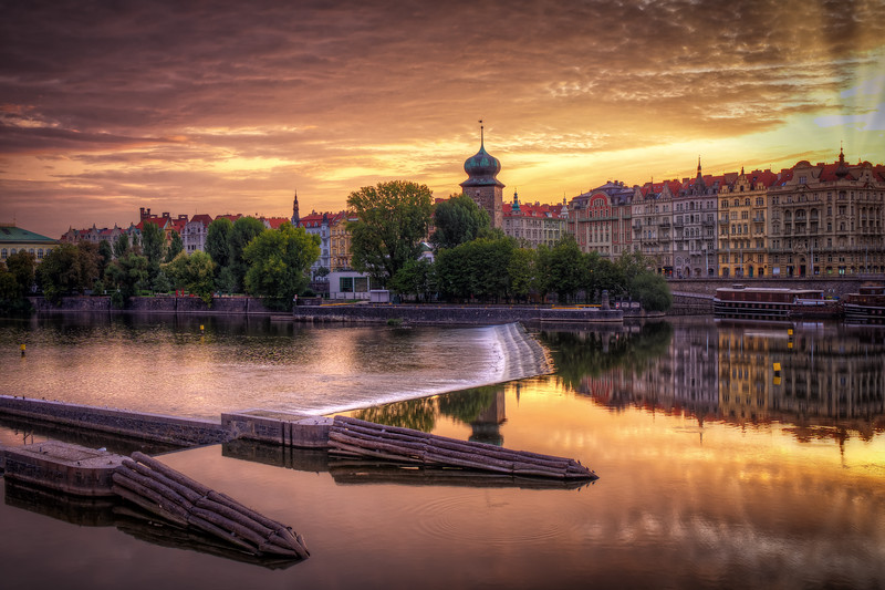 Sunset, Vltava River, Prague, Czech Republic