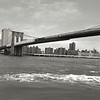 Classic BW Brooklyn Bridge Stretching Across the East River