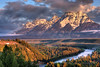 June 2009.  Sunrise from the Snake River Overlook.  Grand Teton National Park.