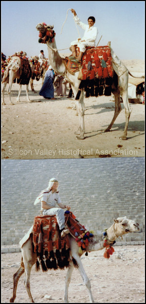 Camel riding in Cairo, Egypt in 1985