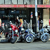Motorcycles parked in front of Downtown Swank Parlor in Tucson, Arizona