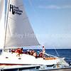Hilton Hawaiian Village sailboat with guests, c. 1957