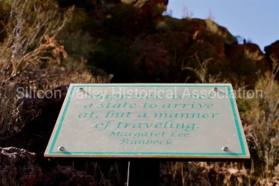 Happiness is not a state to arrive at, but a manner of traveling. Signage at Sanctuary cove in Marana, Arizona