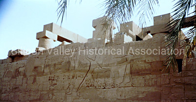 Hieroglyphs on a stone building in Cairo, Egypt in 1985
