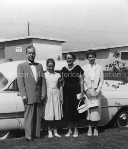 "Family on their way to Hollywood for the show ""Queen for a Day"" in 1956"