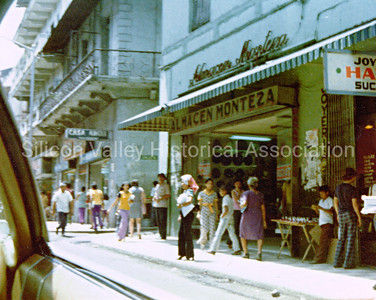 Shopping district in Panama City, Republic of Panama in 1974