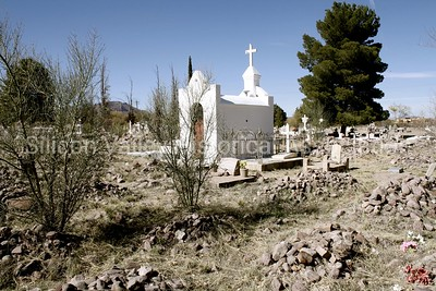 Cemeter in Tubac, Arizona with rock pile graves