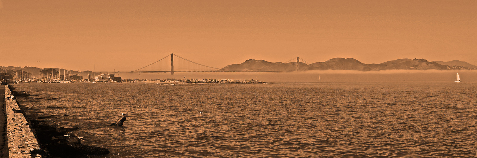 Northern San Francisco Bay, Golden Gate Bridge with the Marin Headlands State Park in the background