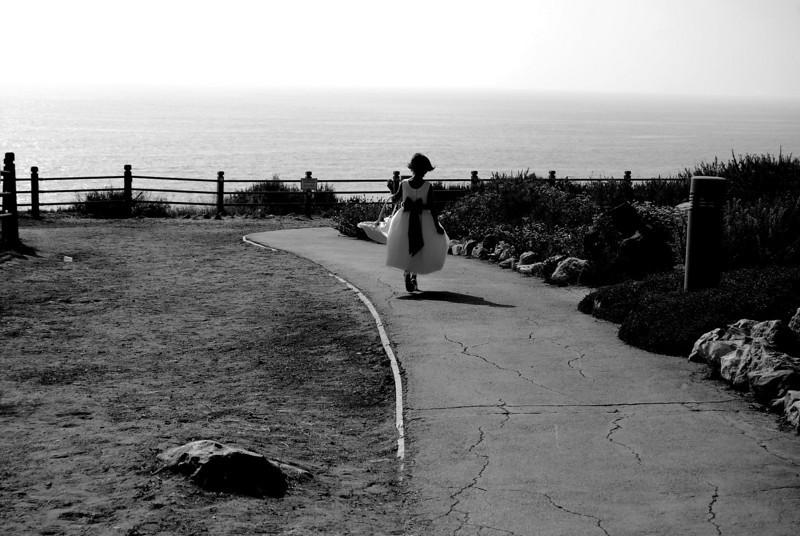 Flower Girl,  we were driving along the coast in Palos Verdes, CA and stopped to look at a light house.  There was a beautiful wedding, and this was the little flower girl.  It was a gorgeous afternoon right the ocean cliffs.