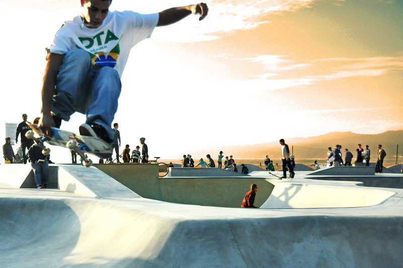 Jump,  sunset at the skater park in Venice Beach,CA