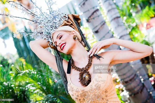 HOLLYWOOD, CALIFORNIA - FEBRUARY 24:  Model Claudia Charriez models a Sue Wong design and headpiece by Marika Soderlund-Robison of Kicka Custom Design at the Hollywood China Night at Taglyan Cultural Complex on February 24, 2019 in Hollywood, California.  (Photo by Greg Doherty/Getty Images)