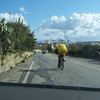 Chris cycling towards Marsaxlokk