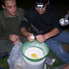 Alan, Zack and Chris preparing the cake mixture
