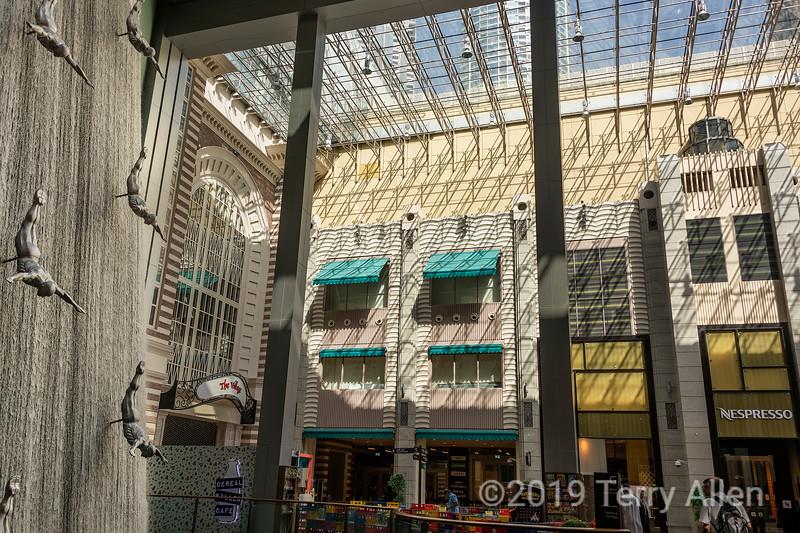 Dubai shopping mall with Human Waterfall, UAE