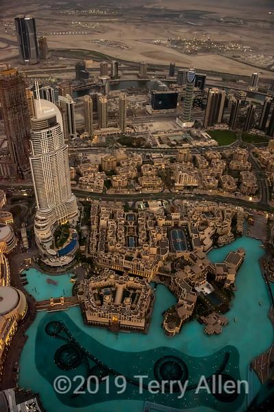 Dubai Fountain and Old Town Island from Burj Khalifa, early evening, Dubai, UAE