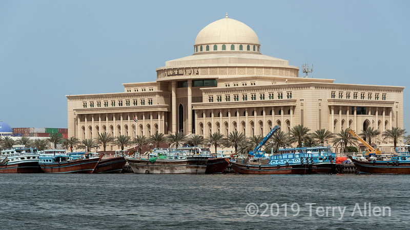 Dhows docked in front of the Sharjah Court House, Sharjah, UAE