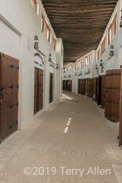 Wooden doors and lanterns in the old Souk Al Arsah, Sharjah, UAE