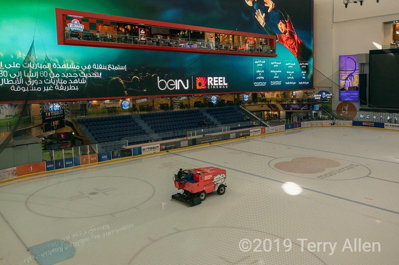 Zamboni refinishing the ice rink, Dubai shopping mall, Dubai, UAE