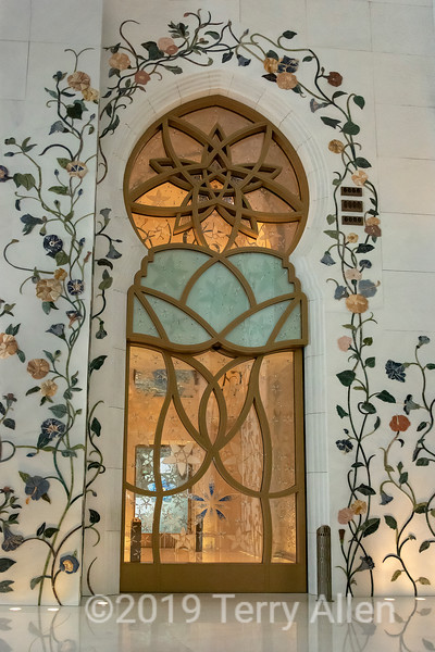 Ornate door to prayer hall, Sheikh Zayed Grand Mosque, Abu Dhabi, UAE