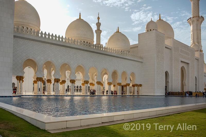 Entry and reflecting pool, Sheikh Zayed Grand Mosque, Abu Dhabi, UAE