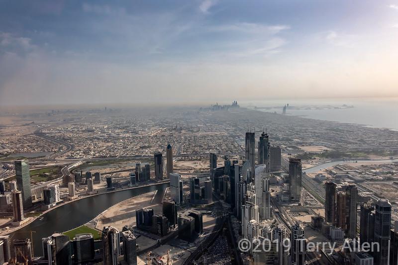 View from Burj Kalifa of downtown Dubai, Burj Al Arab and Jumeirah high rises, UAE