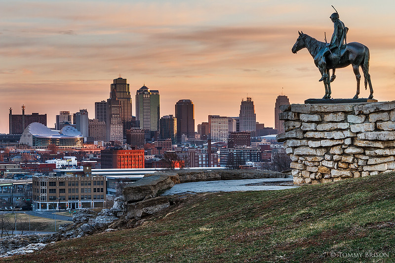 Yesterday morning at sunrise...I went up to overlook the city alongside the KC Scout Statue.  The Scout is a famous statue by Cyrus E. Dallin in Kansas City, Missouri. It is more than 10 feet tall, and depicts a Sioux Indian on horseback surveying the landscape. Today...the landscape it sees is Kansas City.  Image taken on Mar 22, 2014