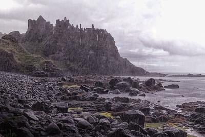 Dunluce Castle in the Rain
