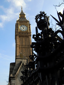 Big Ben - the clock tower on the East end of the Parliament Complex.   The 14 ton belll installed in 1858 chimes every hour.
