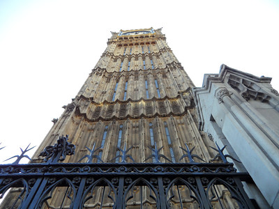 Looking up the tower of Big Ben.