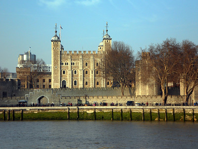 Tower of London - White Tower (Norman Keep) as viewed from the River Thames.