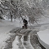 One of the neighbors clearing the road.... plow made two passes and then the tree decided to block things.....