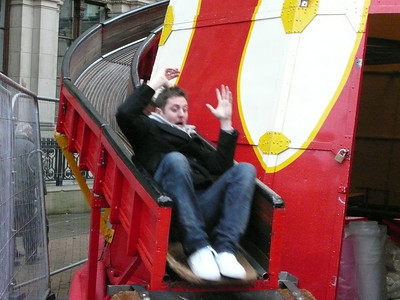 Dave on the kids slide thing