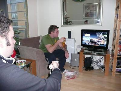 Alex starting up Need for Speed on Wii & Dave
