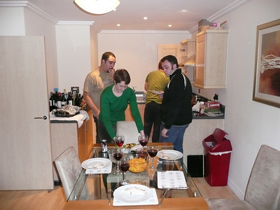 Shortly before the feast. L to R: Matt, Bec, Dave (they live there) & Alex (a flatemate)