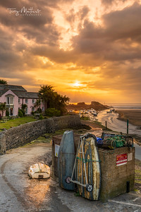 UK Weather: Colourful Sunset in Bude, Cornwall, England.